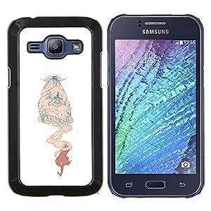 KLONGSHOP // Cubierta de piel con cierre a presión Shell trasero duro de goma Protección Caso - Monster Blanco Beige Niños - Samsung Galaxy J1 J100 //