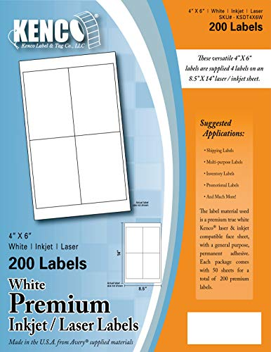 "Kenco Premium White Address Shipping UPC Laser/Inkjet Labels Made in The USA (4"" X 6"" 200 Labels)"