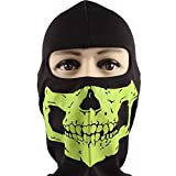 Rioriva Cycling Motorcycle Bike Helmet Face Mask Skull Balaclava Hood COD Ghost Outdoor Sport Novel (Skull-shinygreen),One Size,BC-04