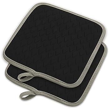 ELFRhino Silicone Heat Resistant Versatile Pot Holder Hot Mats Pads Oven Gloves Mitts Waterproof Non-slip Kitchen Mats for Cooking Potholders Grilling Baking Set of 2 Black