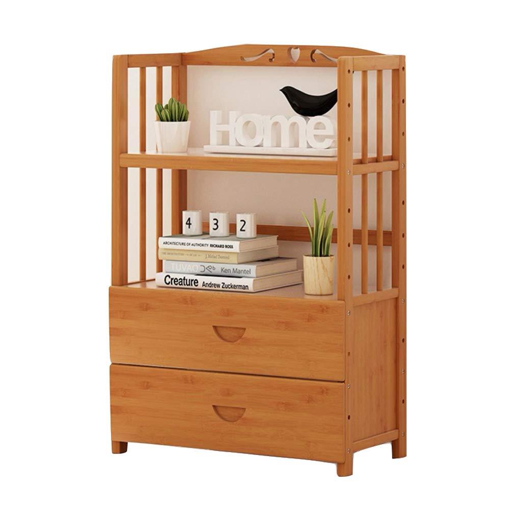 A 50x25x96cm(20x10x38inch) Bookshelf with Drawers, Wooden Bookshelf, Multi-Layer Floor Standing Bookcase Storage Rack Display Shelf for Living Room Office-h 90x25x125cm(35x10x49inch)