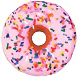 "iscream Sugar-riffic! Donut Shaped Bi-Color 16"" Photoreal Print Microbead Pillow"