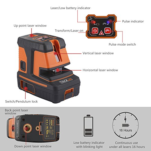 Tacklife SC-L06 3-Point Alignment Laser Level Self Leveling with Horizontal/Vertical Line and Cross-Line -- Enhanced Strong Magnetic Base, Soft Carrying Pouch, Batteries Included by TACKLIFE (Image #2)