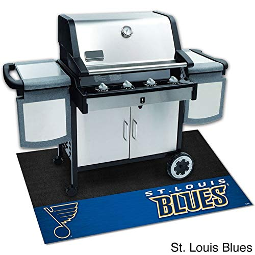 42''x26'' Black NHL St Louis Blues BBQ Grill Mat Sports Hockey Patio Deck Mat Team Logo Print Outdoor Floor Carpet Grill Pad Lawn Garden Cooking Lightweight Washable Universal Fit, Heavy Duty Vinyl