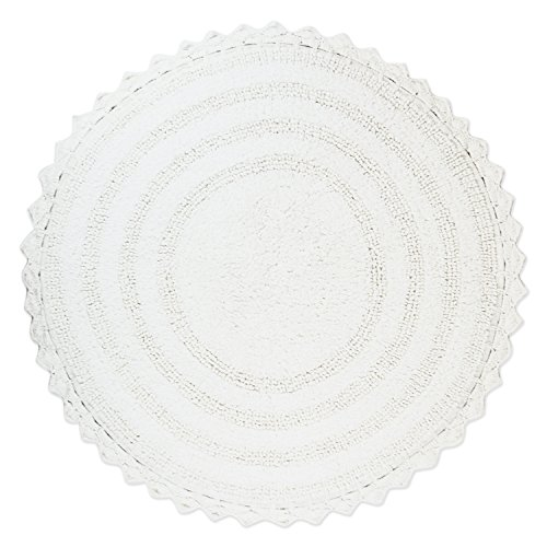 Round Shower Mat - DII Ultra Soft Spa Cotton Crochet Round Bath Mat or Rug Place in Front of Shower, Vanity, Bath Tub, Sink, and Toilet, 28