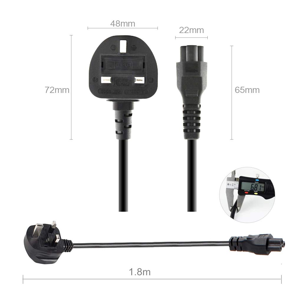 DTK High Performance IEC 320 CloverLeaf Mains Power Cable Lead for Laptop Adapter Charger Electric Equipment Pack