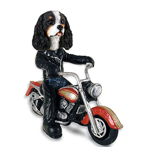 Cavalier King Charles Spaniel Black & White Motorcycle Doogie Collectable Figurine