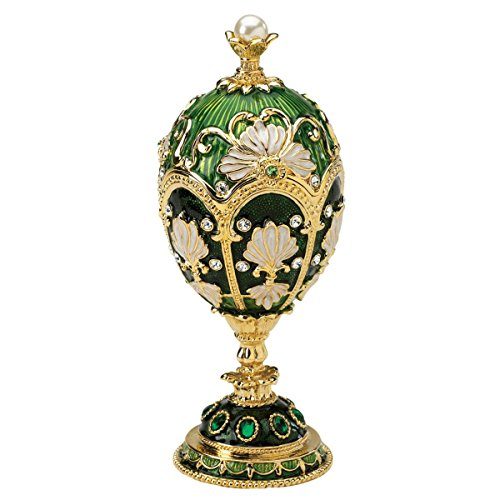 Design Toscano The The Petroika Larissa Faberge Style Enameled Egg Collectible, 6 Inch, Green
