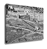 Ashley Canvas Famous Indian Tourist Destination Amer Amber Fort Rajasthan India, Kitchen Bedroom Living Room Art, Black/White 24x30, AG5961910