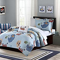 Nautical Living Pirates Treasure Chest Boys Twin Comforter Set (6 Piece Bed in A Bag)