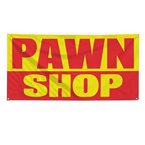 Pawn Shop #1 Outdoor Fence Sign Vinyl Windproof Mesh Banner With Grommets - 2ftx3ft, 4 Grommets