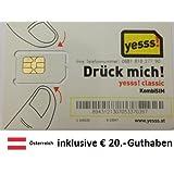Prepaid Daten Sim Karte (mobiles Internet) für Österreich mit 20€ Guthaben, 1 Cent/MB, Datenpaket 4€/GB oder 9€/5GB
