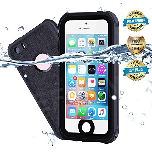 Waterproof iPhone 5/5S/SE Case, EFFUN IP68 Certified Waterproof Underwater Cover Dustproof Snowproof Shockproof Case with Cell Phone Holder, PH Test Paper, Stylus Pen and Floating Strap Black