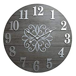 30 Washed Gray Wood Plank Frameless Wall Clock