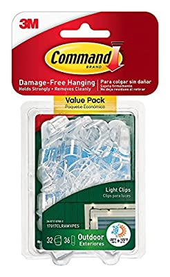 Command Outdoor Light Clips, Clear, 80-Clips