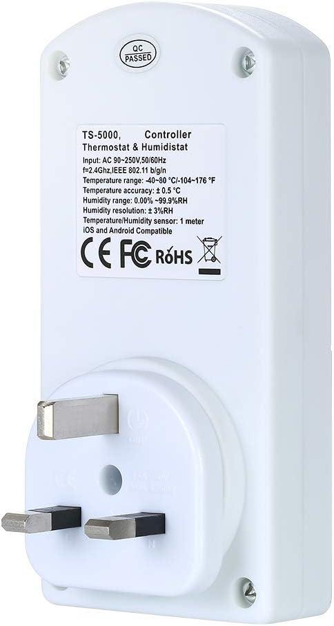 NASHONE Kit de prise thermostat sans fil avec thermostat infrarouge avec minuteur chauffage et mode de chauffage et de refroidissement 3680 W.