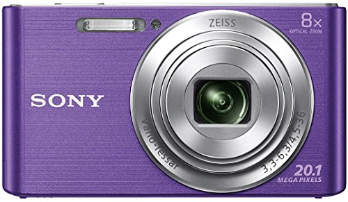 Sony DSC W830 CyberShot 20.1 MP Point and Shoot Digital Camera  Violet  with 8X Optical Zoom with Camera Case
