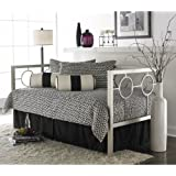 Astoria Complete Metal Daybed with Link Spring and Trundle Bed Pop-Up Frame, Matte Black Finish, Twin