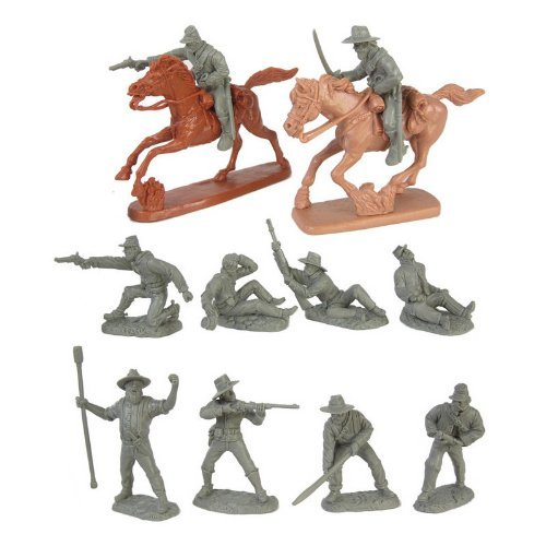(Civil War Wounded Artillery & Cavalry Plastic Army Men: Set of 10 GRAY 54mm Figures and 2 Horses - 1:32 scale)