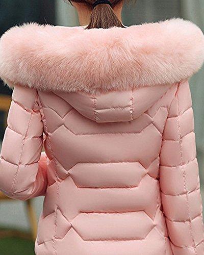 Giubbotto Collo Donna Cappotti Di Con Spessa Cappuccio Imbottito Giacca Pelliccia Pink Cerniera qrwwF5g01