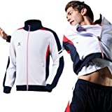 Fuerza Mens Premium Material Knit Track Jacket - White/Navy - Medium
