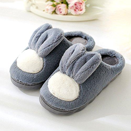 inverno lana soggiornano maschio spesse pantofole pantofole d'inverno nel le cotone indoor pantofole bella Il gancio che Grigio scuro2 coppie DogHaccd donne zaPqYx8xw