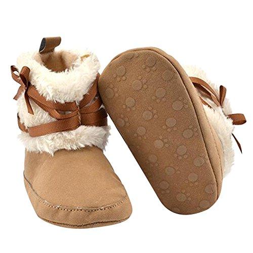 Highdas Invierno Los Bebés Recién Nacidos Bowknot Suave Cuna Zapatos Infantiles Calientes Zapatos paño Grueso Suave Primer Caminante Caqui