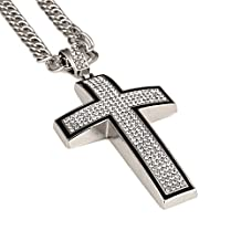 JAJAFOOK Cross Necklace for Men 18k Real Gold Diamond Pendant Hip Hop Chain