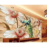 YShasaG Silk mural Custom Mural House Living Room Bedroom Tv Background Mural Relief Flower Peacock Background Wallpaper For Walls 3 D,208cm*146cm