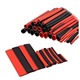 Efanr 150 Pieces/pack Black + Red Heat Shrinkable Wire Wrap Tube Assortment 2:1 Shrink Ratio Adhesive Lined Heat Shrink Kit Electrical Insulation Cable Tubing