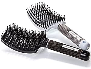 Boar Bristle Hair Brush set – Curved and Vented Detangling Hair Brush for Women Long, Thick, Thin, Curly & Tangled Hair Vent Brush