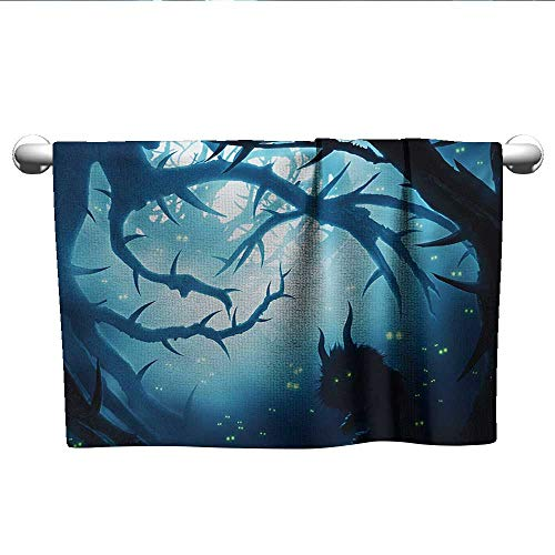 LilyDecorH Mystic,Fade-Resistant Towel Animal with Burning Eyes in The Dark Forest at Night Horror Halloween Illustration Microfiber Towels for Body Navy White W 20
