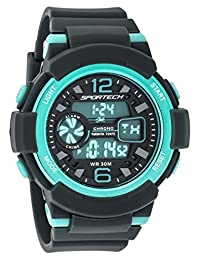Sportech Men's/Women's | Classic Grey & Turquoise Digital Water Resistant Sport Watch | SP12001