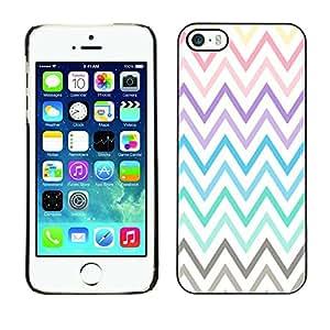 Cubierta de la caja de protección la piel dura para el Apple iPhone 5 / 5S - pastel purple teal yellow pattern