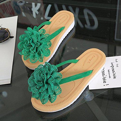 Plat Porter Sandales 35 D'été Flip Femme Avec Flop Pour Antidérapant Sandales Fleurs Tongs Vert Plage Ittxtti Mode Fine De 1SqYFxF