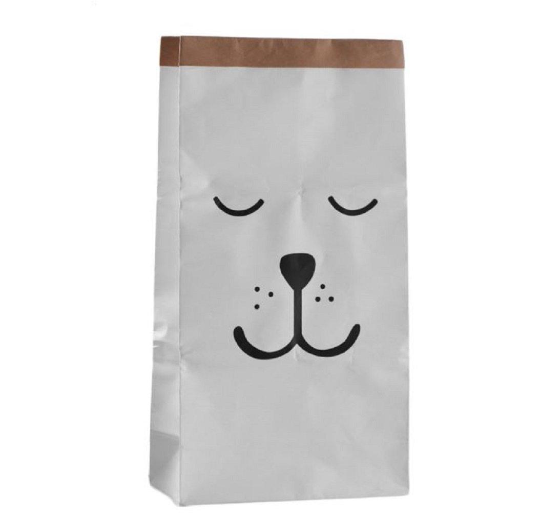 Thick White Craft Paper Sleeping Bear Bag Hamper Organizers Storage for Kids Toys, Baby Clothing, Children Books, Gift Bag Bg mini