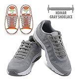 Homar Kids Shoe Laces No Tie Shoe Laces - Best In Alternative Shoelaces - Elastic Waterproof Dirtproof For Life Hackers, Kids, Elders, Handicap, Athletes - Grey | amazon.com