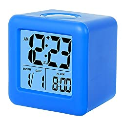SkyNature Silicon Cube Led Alarm Clock Large Display with Nightlight and Snooze (Blue)