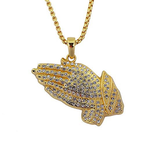 Iced Out Bling God Bless You Hand Gold Necklace for Men Jewelry Pendant with Rope Chain