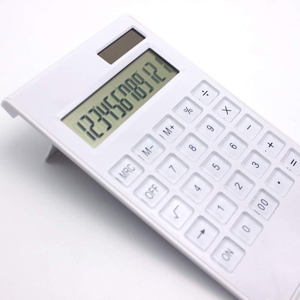 Rantoloys Calcolatrice da tavolo Ultra-sottile 12 cifre Display di grandi dimensioni Solare e batteria Pulsanti di cristallo a doppia alimentazione Contatore di base per forniture scolastiche