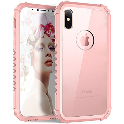 (iPhone XS Case,iPhone X Case, UZER Transparent Enhanced Grip Protective Cover PC Frame Crystal Durable Shock-Absorption Flexible Soft Rubber TPU Bumper Hybrid Protective Case for iPhone XS/iPhone X)