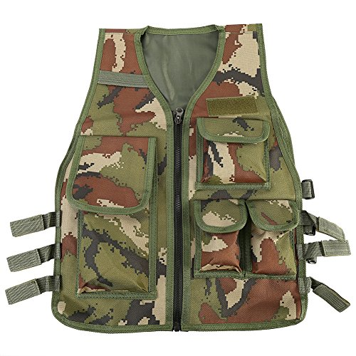 Children Tactical Vest Nylon Shooting Hunting Molle Clothes CS Game Field Combat Training Protective Vest (Army green camouflage)