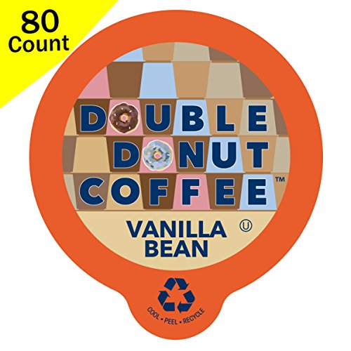 (Double Donut Flavored Coffee, Recyclable Single Serve Cups for Keurig K Cup Brewers (Vanilla Bean, 80 Count))