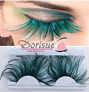 62635eb2c67 Dorisue Double Lip Black WIth Green one pair Feather eyelashes Extra  extension Halloween Green Feather Tip