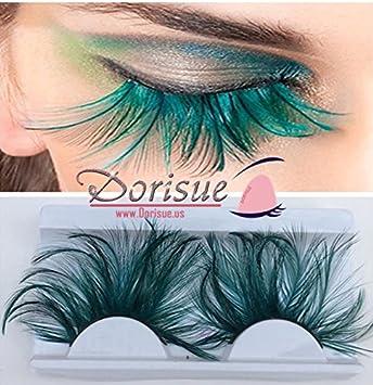 73f4bab9e77 Amazon.com : Dorisue Double Lip Black WIth Green one pair Feather eyelashes  Extra extension Halloween Green Feather Tip False Eyelashes Dance Halloween  ...