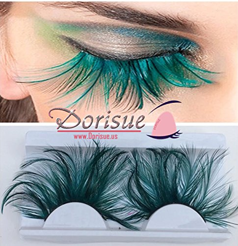 Dorisue Double Lip Black WIth Green one pair Feather eyelashes Extra extension Halloween Green Feather Tip False Eyelashes Dance Halloween Costume ()