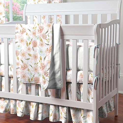 - Carousel Designs Pink Hawaiian Floral Mini Crib Skirt Gathered