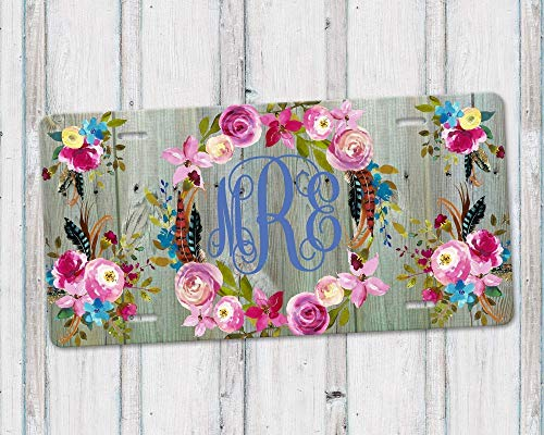 Personalized Monogram Aluminum License Plate with Boho Floral Wreath and Green Weathered Barn Wood Background