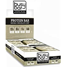 Busy Bar, Grass Fed Whey Protein Bars, Double Chocolate Chip, 1g of Sugar, 13g of Protein, 160 Calories, Gluten Free, Low Carb Bar, Soy Free, Non-GMO, Perfect Snack On-the-Go (12 bars)