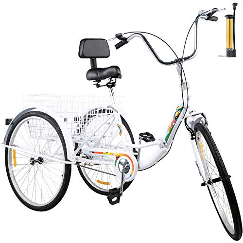 Bkisy Tricycle Adult 24'' 1-Speed 3 Wheel Bikes for Adults